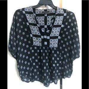 BCBG Max Azria black and blue printed top